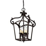 Luminary 4 Light Pendant Lantern in a Bronze Finish with Clear Glass - FEISS FE/LUMINARY/P/A